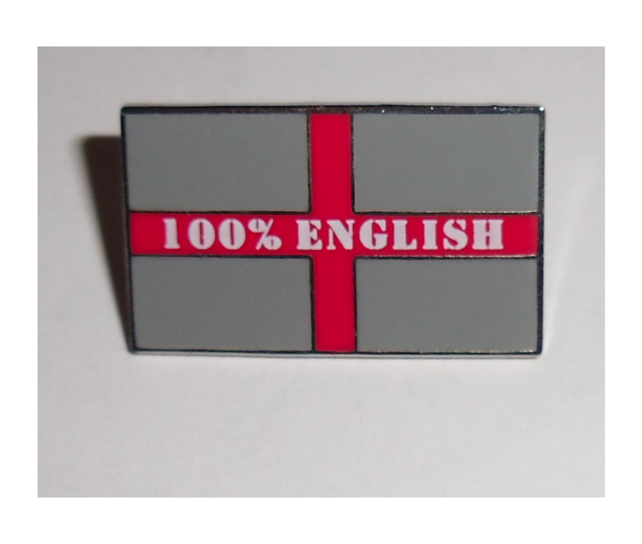 Metallic 100% English Pin badge