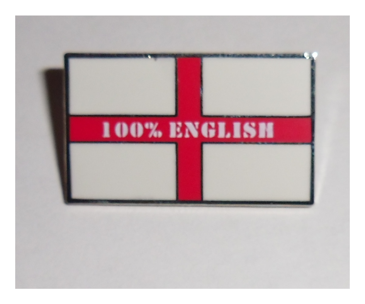 100% English pin badge