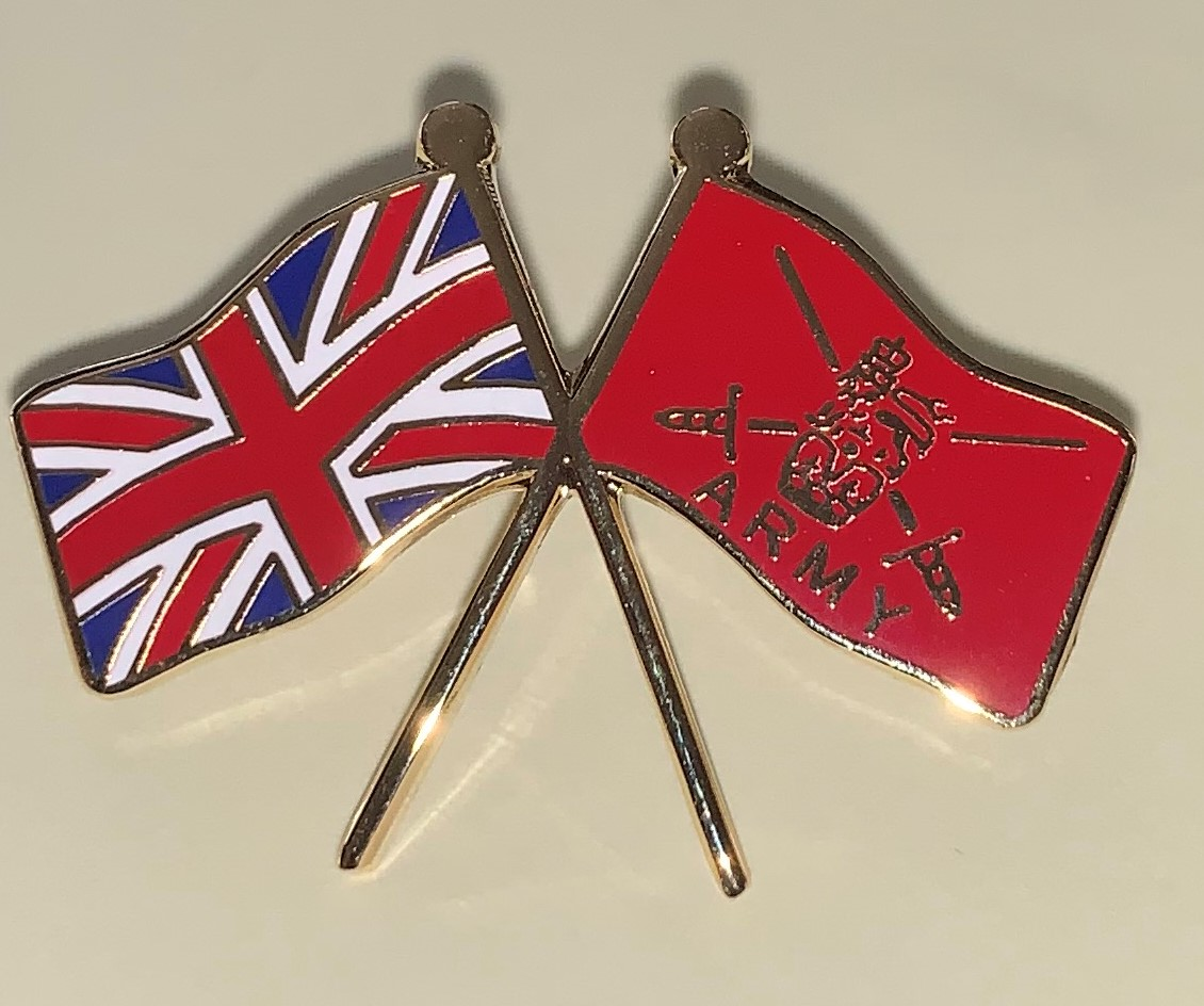 Union Jack crossed with British Army flag badge