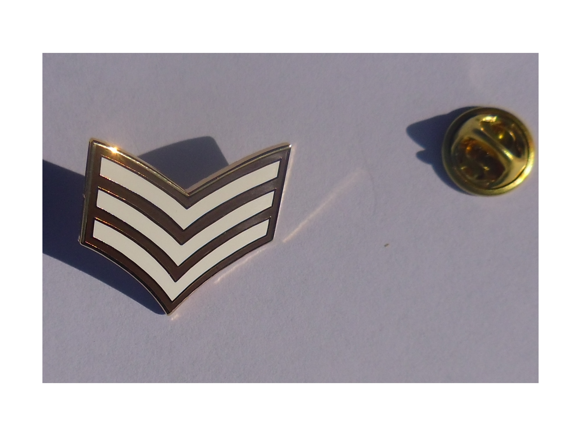 Sgt Stripes lapel pin badge Army