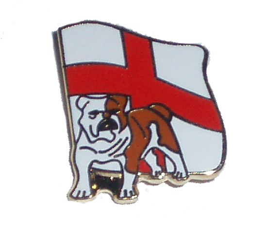 English Bulldog England flag pin badge