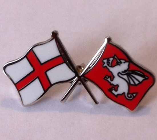 Cross of St George crossed with White Dragon flag badge - Click Image to Close