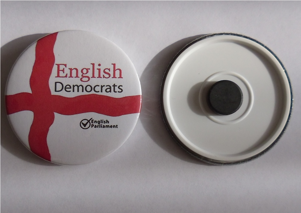 Round metal English Democrats fridge magnet