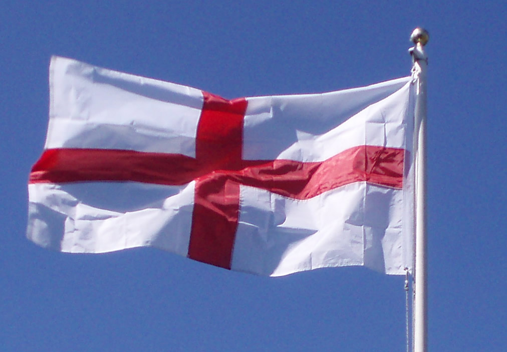 England flag, sewn design, nylon with canvas sleeve