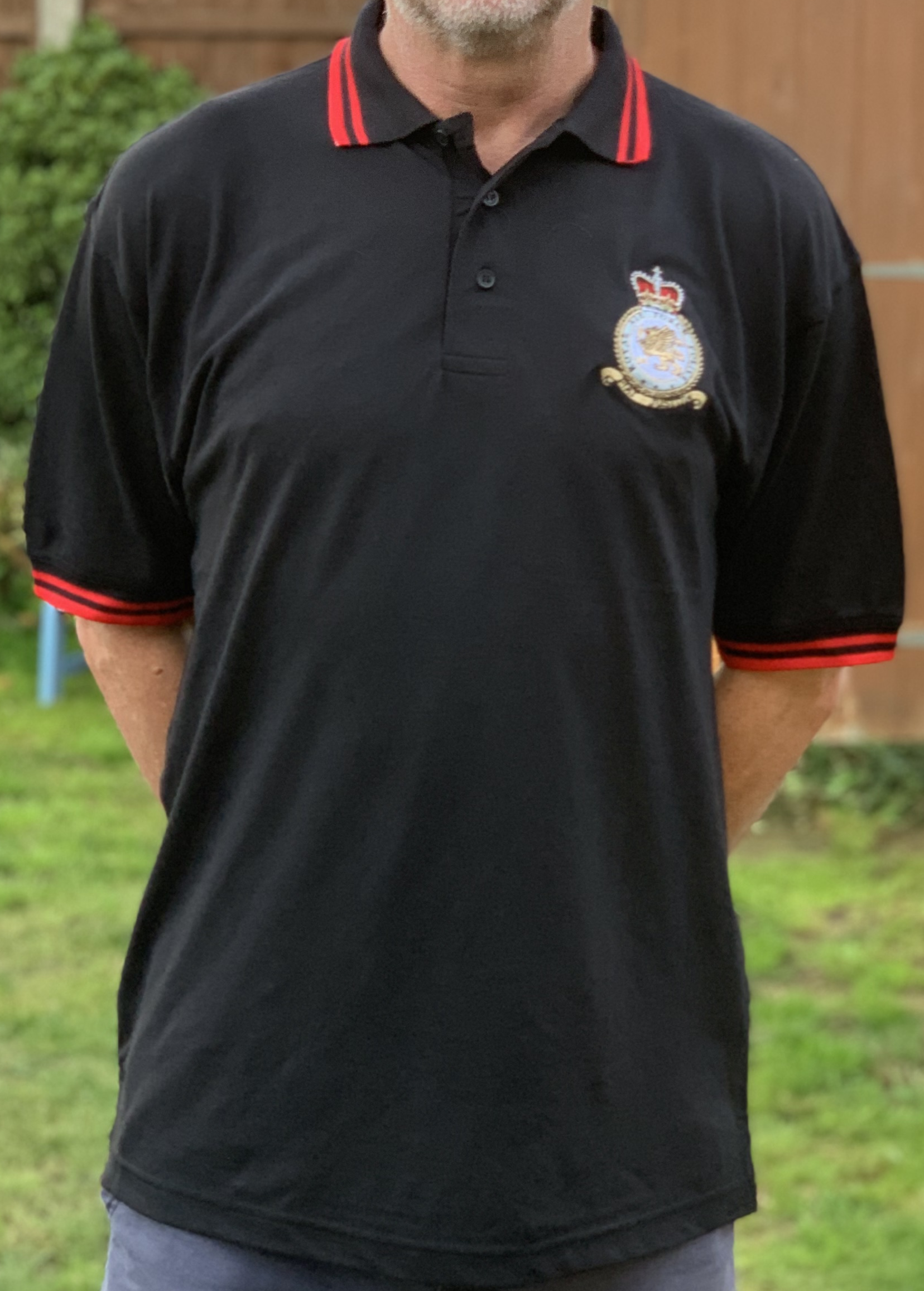 RAF Police embroidered badge on black polo