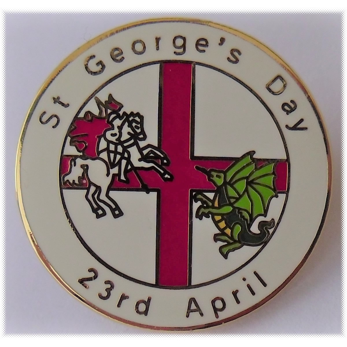 Saint George's day pin badge - Click Image to Close