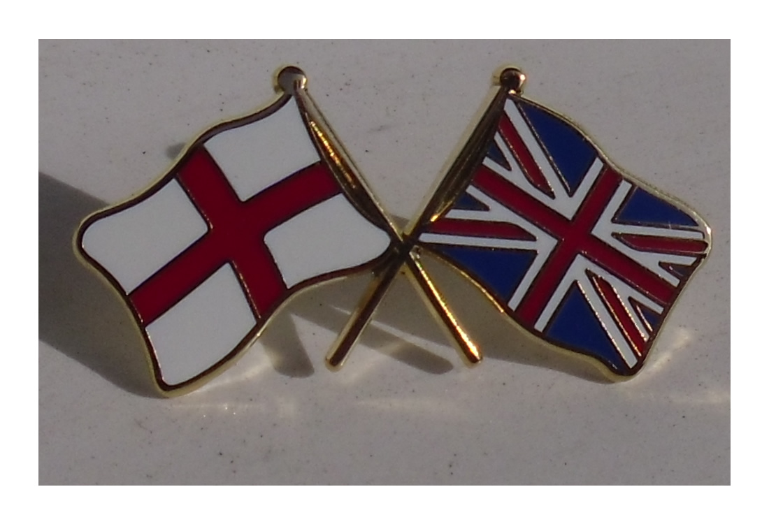 Cross of St George and Union Jack crossed flag pin badge