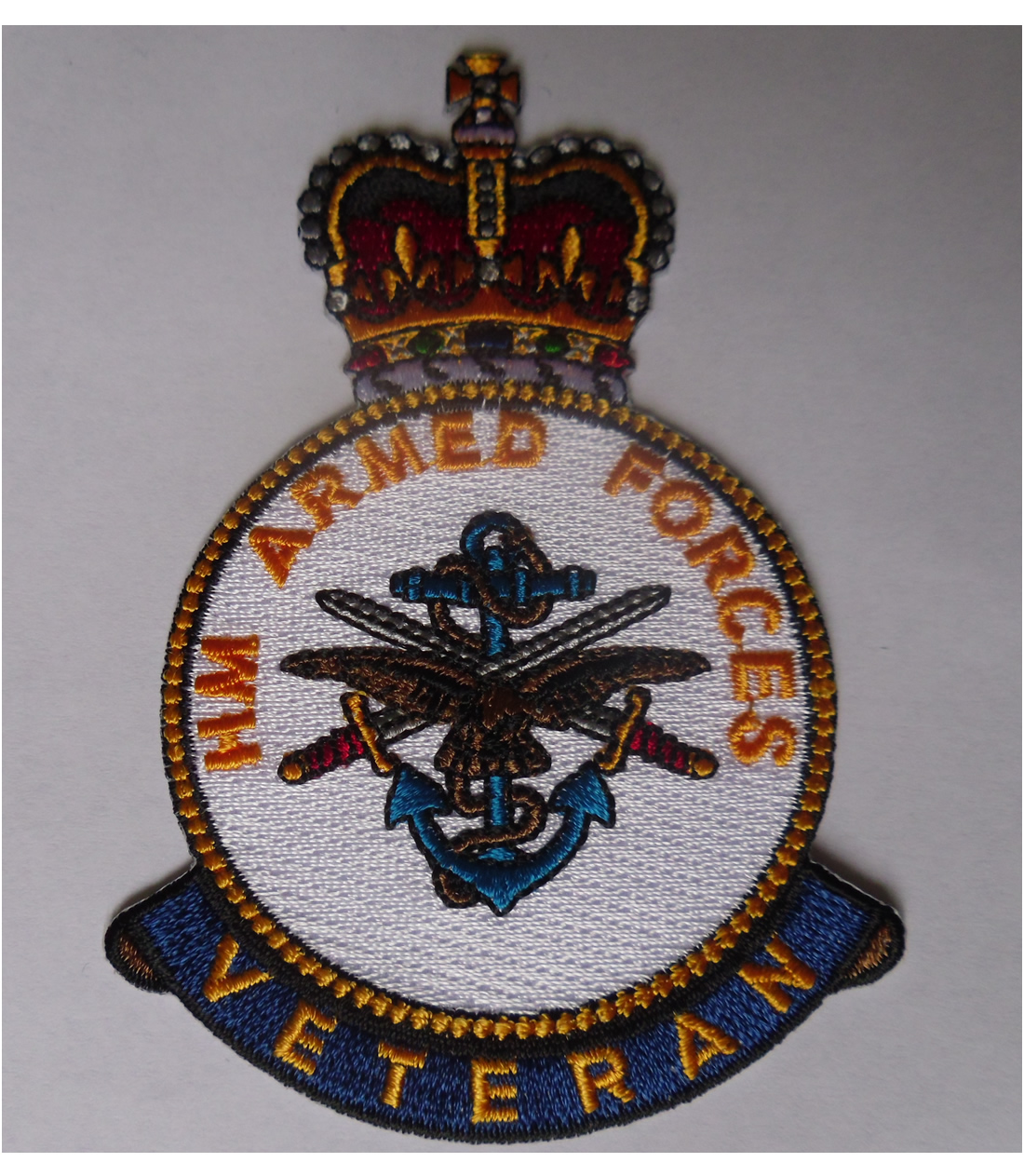 HM Armed Forces Veteran iron on embroidered patch - Click Image to Close
