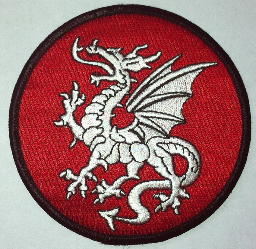 Round White dragon patch - Click Image to Close