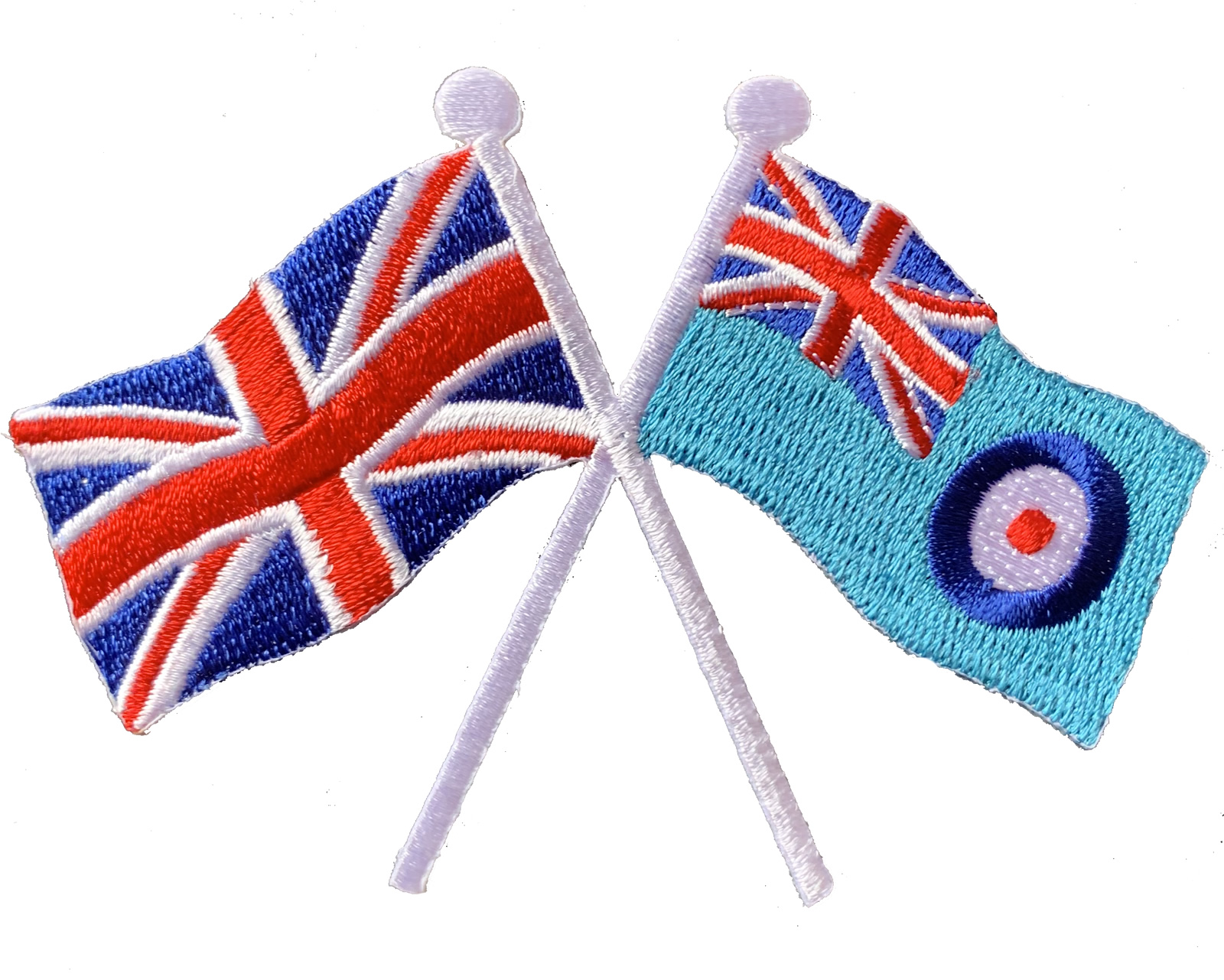 Union Jack and RAF Ensign crossed flag iron or sew on patch