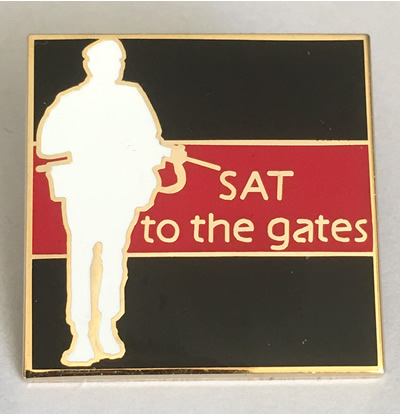 SAT to the gates pin badge