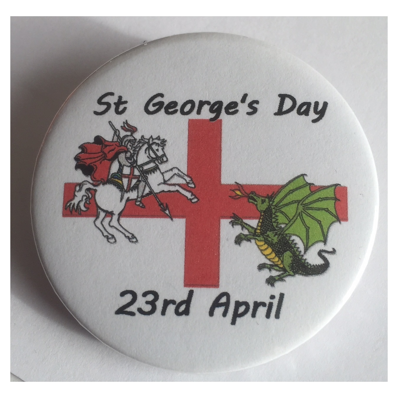 Saint George's day England button badge