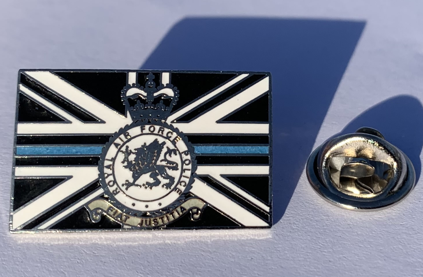Thin Blue Line RAF Police 25mm pin badge